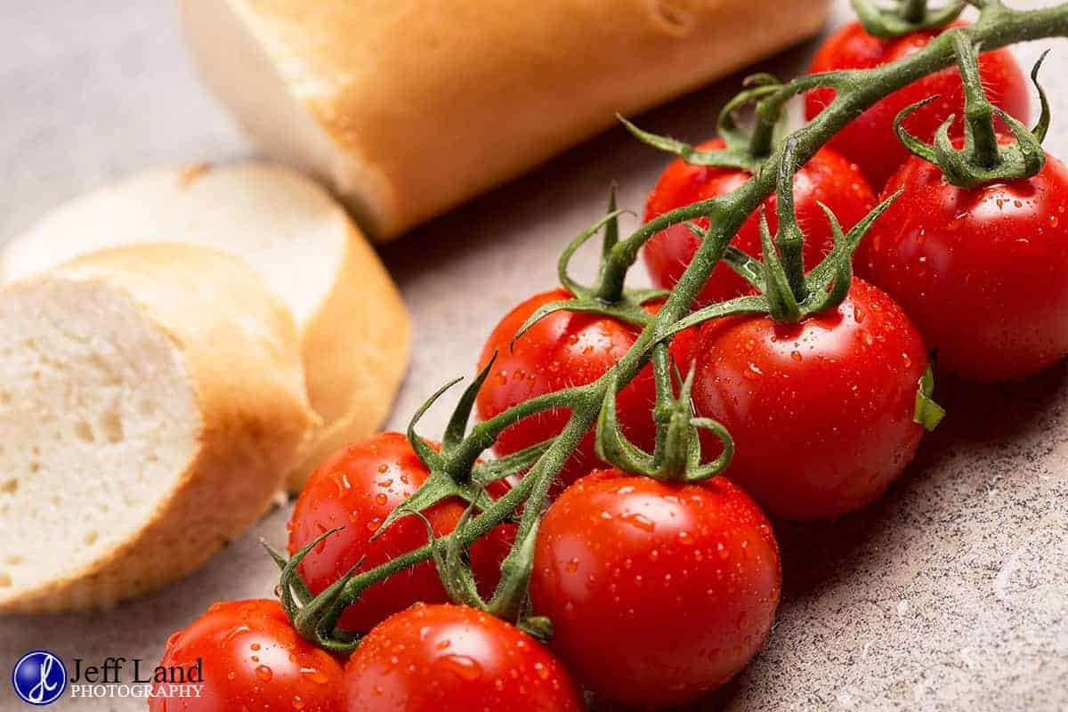 Tomatoes & bread, food photographer based in Stratford upon Avon, covering Warwickshire & the Cotswolds